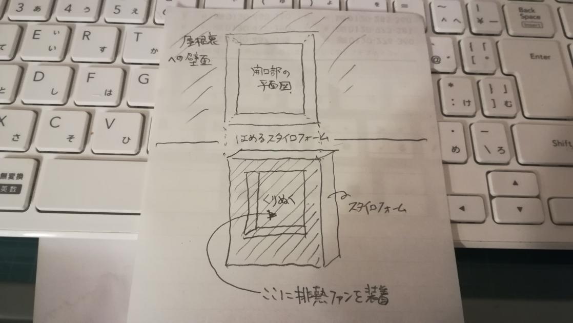 点検口へのファン施工の簡単なイメージ図